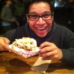 Antonio with his Steak Frite Sandwich from Aquarelle