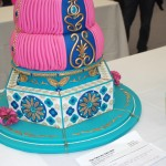bright colored tall cake